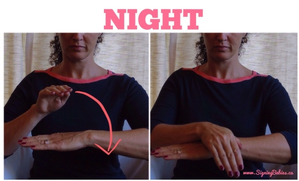 NIGHT in American Sign Language -one arm is held horizontally, palm down, while other hand arcs forward from behind flat arm to rest its wrist on the back of your flat hand.  -www.signingbabies.ca